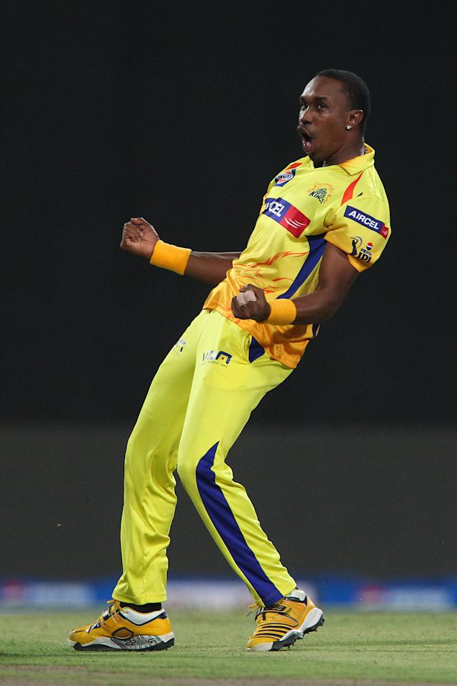 Dwayne Bravo celebrates the wicket of Ambati Rayudu during the Final of the Pepsi Indian Premier League between The Chennai Superkings and the Mumbai Indians  held at the Eden Gardens Stadium in Kolkata on the 26th May 2013..Photo by Ron Gaunt-IPL-SPORTZPICS      ..Use of this image is subject to the terms and conditions as outlined by the BCCI. These terms can be found by following this link:..https://ec.yimg.com/ec?url=http%3a%2f%2fwww.sportzpics.co.za%2fimage%2fI0000SoRagM2cIEc&t=1490568317&sig=cd6y17IR26vuFRfEmC4ZeQ--~C
