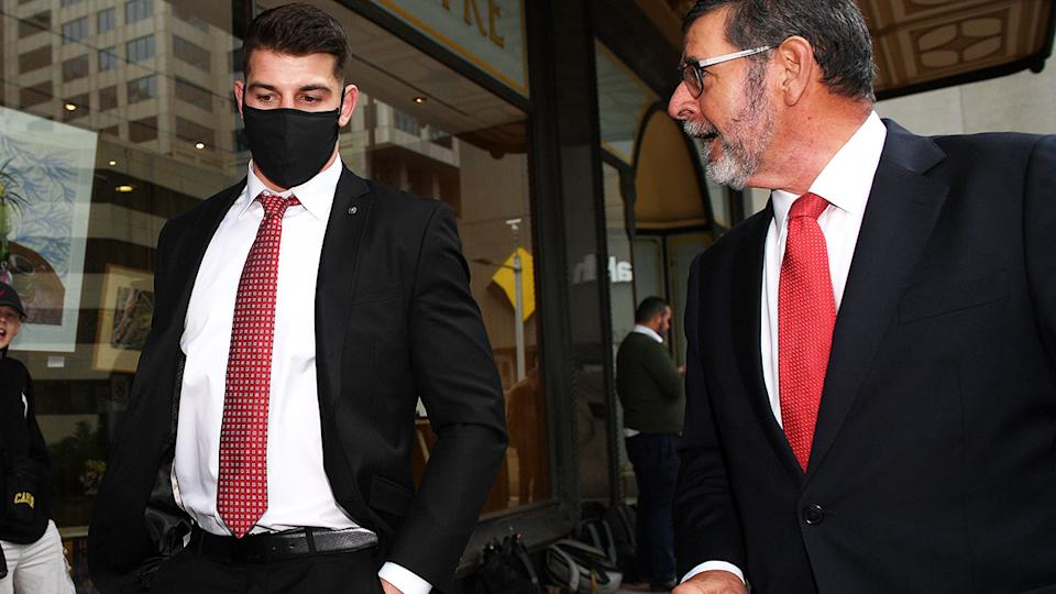 Curtis Scott and lawyer Sam Macedone, pictured here leaving the Downing Centre Court.