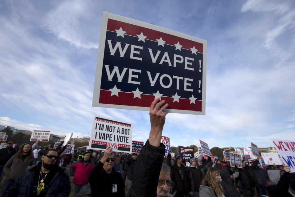 Vape consumer advocate groups and vape storeowners around the country hold a rally outside of the White House to protest the proposed vaping flavor ban in Washington DC on November 9, 2019. (Photo by Jose Luis Magana / AFP) (Photo by JOSE LUIS MAGANA/AFP via Getty Images)