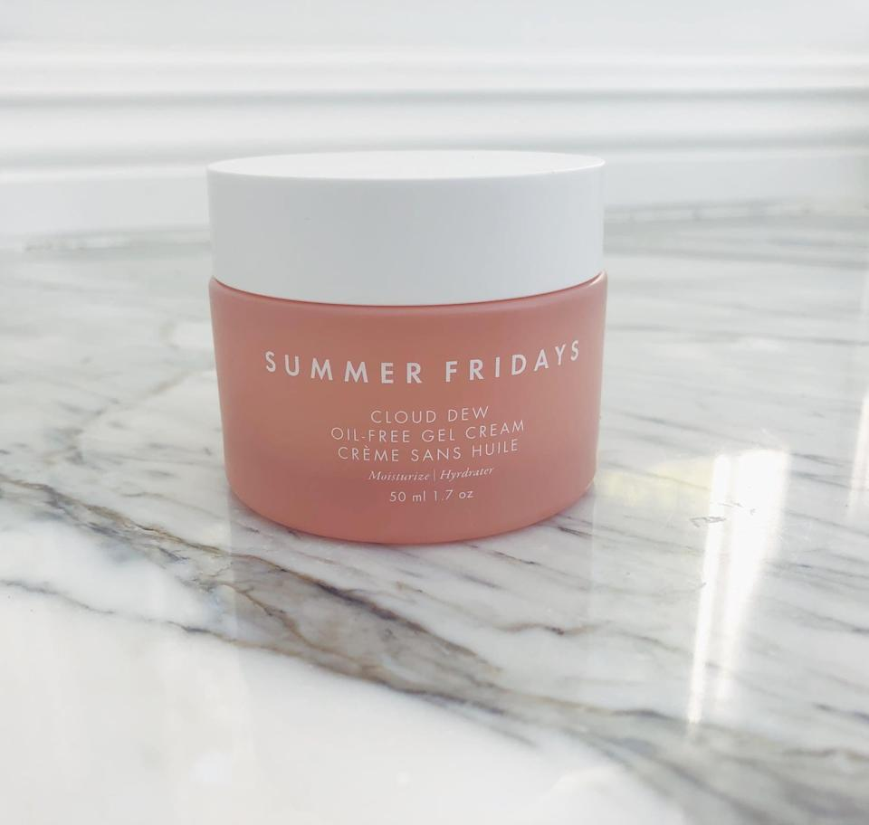 """<p>""""I have sensitive, combination skin, with pores that can clog easily, so finding the right moisturizer can seem like a herculean task. The <span>Summer Fridays Cloud Dew Oil-Free Gel Cream Moisturizer</span> ($42) has the lightness of a gel married with the smooth texture of a cream, and it glides onto the skin beautifully. It's lightweight, but the three different kinds of hyaluronic acid mean it packs a hydration punch. It soaks in quickly, keeps me moisturized all day long, and has not clogged my pores. It is one of the rare products I can genuinely recommend to anyone."""" - India Yaffe, associate editor, Commerce</p> <p>If you want to read more, here is the <a href=""""https://www.popsugar.com/beauty/summer-fridays-cloud-dew-moisturizer-review-48128476"""" class=""""link rapid-noclick-resp"""" rel=""""nofollow noopener"""" target=""""_blank"""" data-ylk=""""slk:complete Summer Fridays Cloud Dew Oil-Free Gel Cream Moisturizer review"""">complete Summer Fridays Cloud Dew Oil-Free Gel Cream Moisturizer review</a>.</p>"""