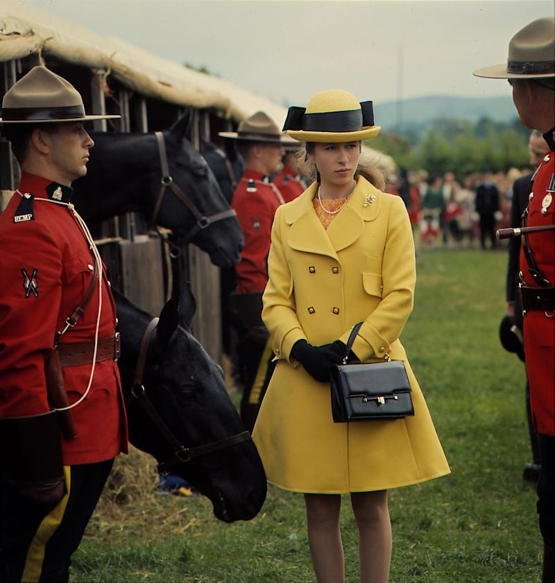 Princess Anne at Horse Trials in the U.K. with members of the Royal Canadian Mounted Police, 1968.