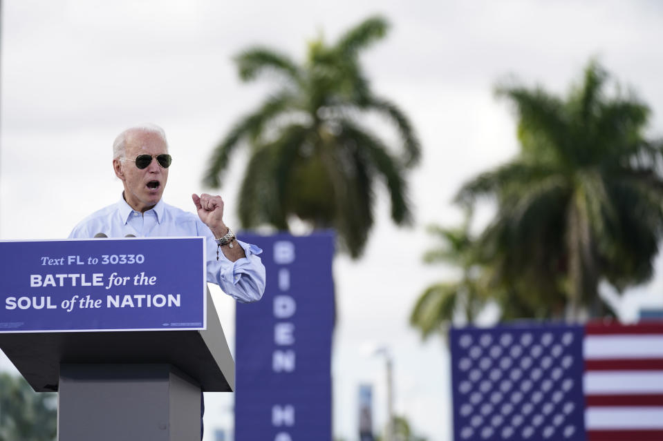 426Democratic presidential candidate former Vice President Joe Biden speaks at a drive-in rally at Broward College, Thursday, Oct. 29, 2020, in Coconut Creek, Fla. (AP Photo/Andrew Harnik)