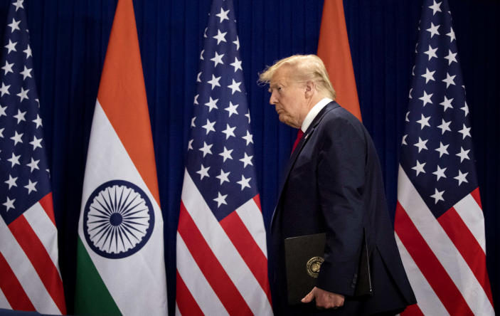 Image: President Donald Trump arrives for a news conference in New Delhi on Tuesday.