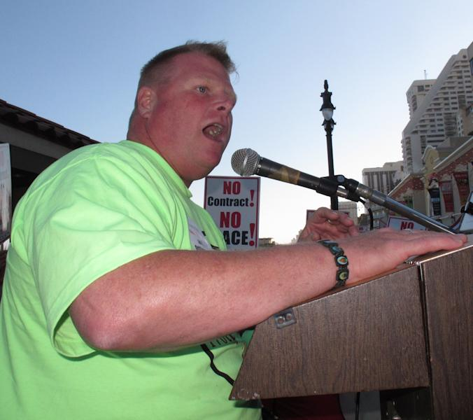 In this June 15, 2012 photo, Robert McDevitt, president of Local 54 of the Unite-HERE casino workers union, speaks at a demonstration on the Atlantic City N.J. Boardwalk. McDevitt asked New Jersey gambling regulators on Aug. 23, 2012 to investigate the finances of the new Revel casino, claiming the struggling resort owes $27 million to contractors and vendors after losing $35 million in three months. (AP Photo/Wayne Parry)