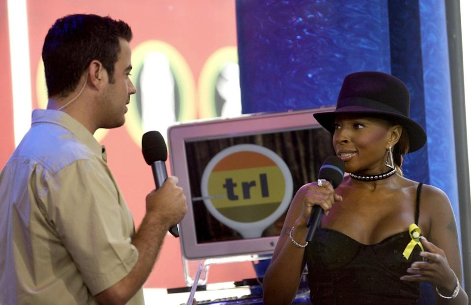<p>Mary J. Blige chatted with Carson Daly about her album <b>No More Drama</b> on <b>TRL</b> in 2001.</p>