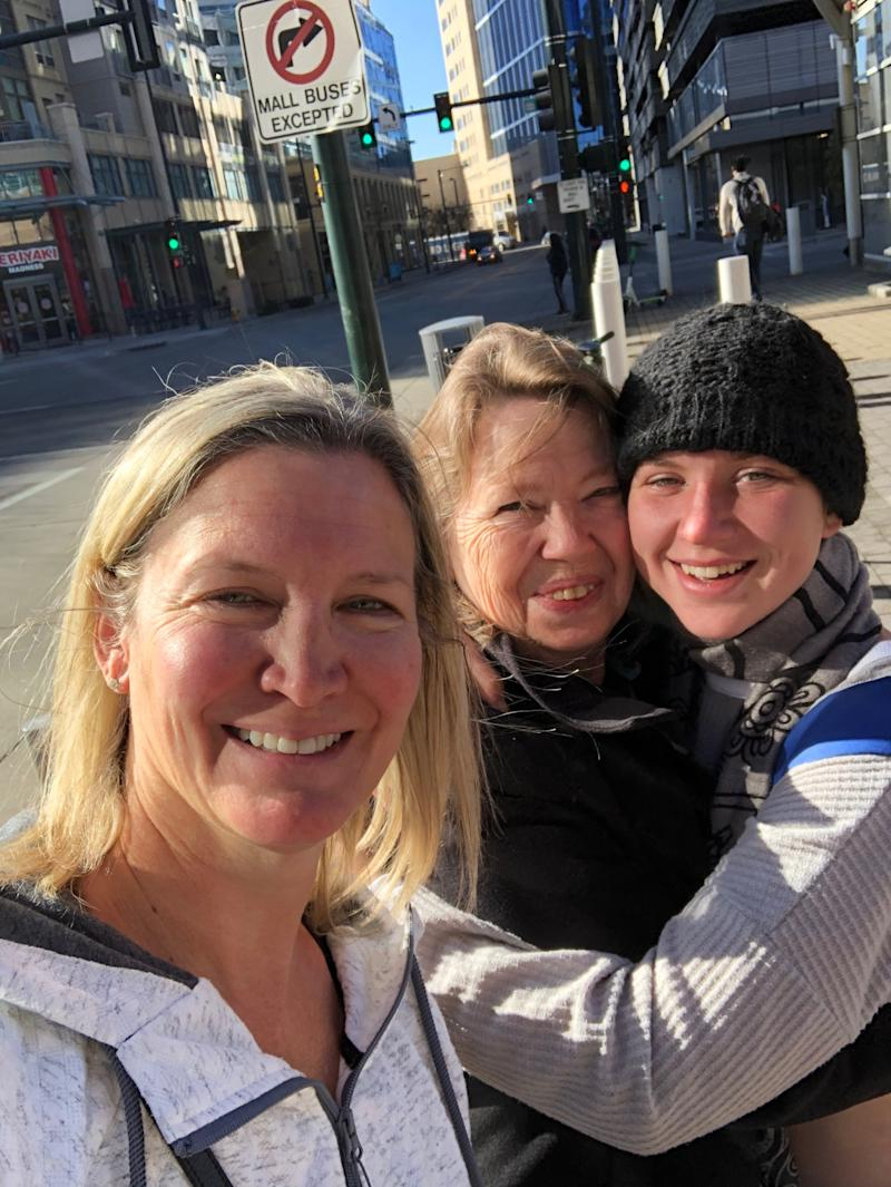 Jill Rosenow's step-sister, Theresa Brown (far left), with Rosenow's stepmom in the middle, and Rosenow's daughter Alice Crawford (far right), who was found homeless in Denver. She has now been reunited with her family. (Photo: Courtesy of Jill Rosenow)