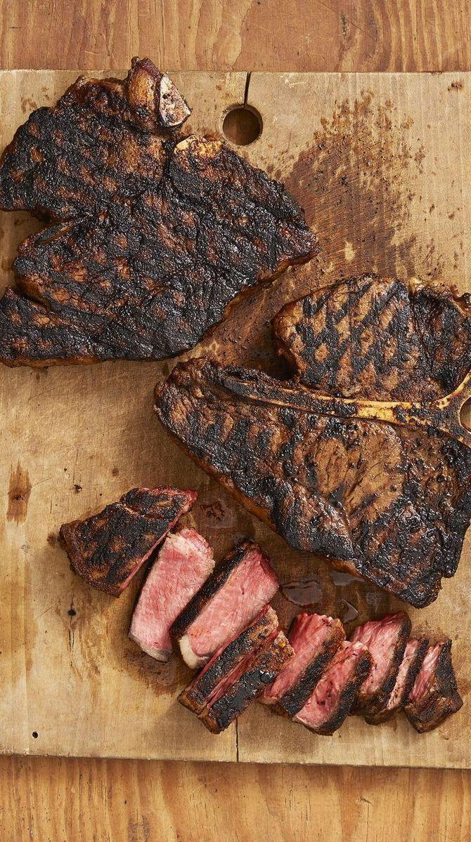 """<p>Follow Ladd's lead and grill these beauties over charcoal, or take a cue from Ree by staying inside and using a grill pan. (She appreciates air conditioning; what can she say?)</p><p><strong><a href=""""https://www.thepioneerwoman.com/food-cooking/recipes/a32905916/cajun-t-bone-steaks-recipe/"""" rel=""""nofollow noopener"""" target=""""_blank"""" data-ylk=""""slk:Get the recipe."""" class=""""link rapid-noclick-resp"""">Get the recipe.</a></strong></p><p><a class=""""link rapid-noclick-resp"""" href=""""https://go.redirectingat.com?id=74968X1596630&url=https%3A%2F%2Fwww.walmart.com%2Fip%2FThe-Pioneer-Woman-Cowboy-Rustic-14-Piece-Forged-Cutlery-Knife-Block-Set-Turquoise%2F53967703&sref=https%3A%2F%2Fwww.thepioneerwoman.com%2Ffood-cooking%2Fmeals-menus%2Fg35191871%2Fsteak-dinner-recipes%2F"""" rel=""""nofollow noopener"""" target=""""_blank"""" data-ylk=""""slk:SHOP KNIVES"""">SHOP KNIVES</a></p>"""