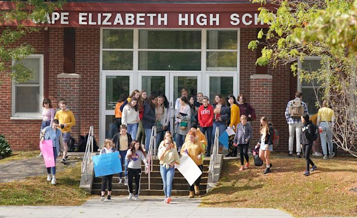 Students from Cape Elizabeth High School walked out of school on Monday, October 7, 2019 to protest the suspension of students who have been suspended from school following complaints of how the school handled recent sexual assault allegations.