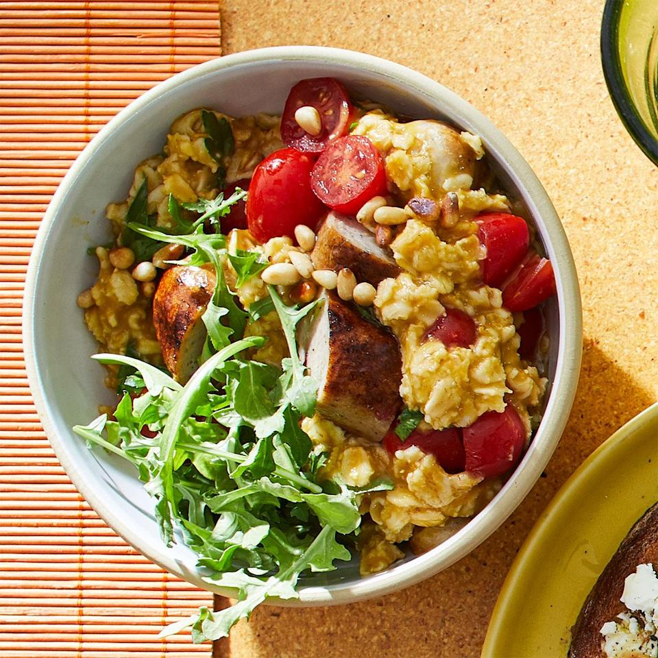 <p>Oats get a new life in this savory dish, serving as the backbone for a satisfying combo of sausage, greens, tomatoes, and herbs.</p>