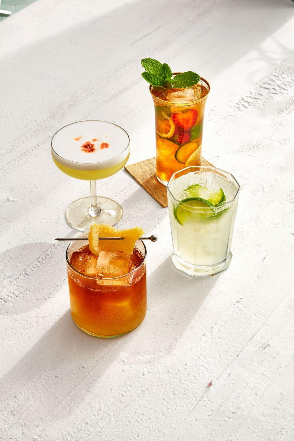 """<p>Pimm's No. 1 is a gin-based aperitif that was invented in the 1820s in England by oyster-bar owner James Pimm. Its secret formula is a refreshing combination of dry gin, fruit juices and spices. There are other numbered Pimm's aperitifs, each with a different base liquor. </p><p><em><a href=""""https://www.goodhousekeeping.com/food-recipes/a7083/pimms-cup-recipe/"""" rel=""""nofollow noopener"""" target=""""_blank"""" data-ylk=""""slk:Get the recipe for Pimm's Cup »"""" class=""""link rapid-noclick-resp"""">Get the recipe for Pimm's Cup »</a></em></p>"""