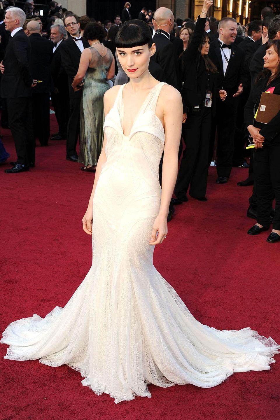 <p>Rooney Mara had a strong debut at her first Academy Awards, nominated for her role in <em>The Girl with the Dragon Tattoo, </em>the Hollywood It girl wore a one-of-a-kind Givenchy Haute Couture gown. </p>