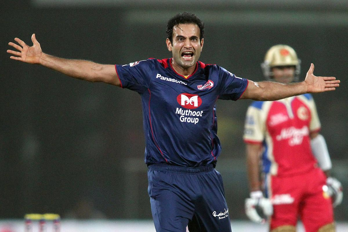 Irfan Pathan of Delhi Daredevils celebrates after bowling Chris Gayle of the Royal Challengers Bangalore during match 57 of the Pepsi Indian Premier League between Delhi Daredevils and the Royal Challengers Bangalore held at the Feroz Shah Kotla Stadium, Delhi on the 10th May 2013. (BCCI)