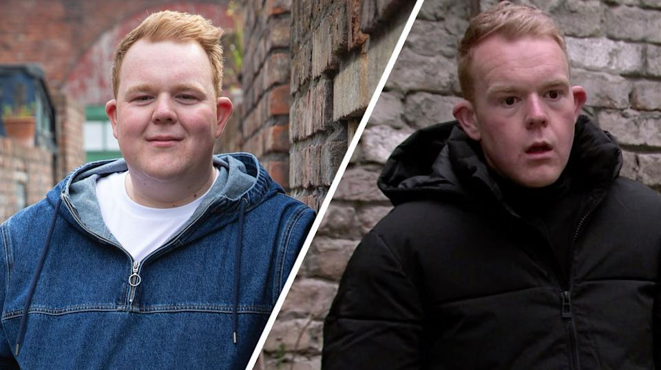 Colson Smith pictured left in a 2019 generic portrait, and right, in January 2021 on Corrie (ITV)