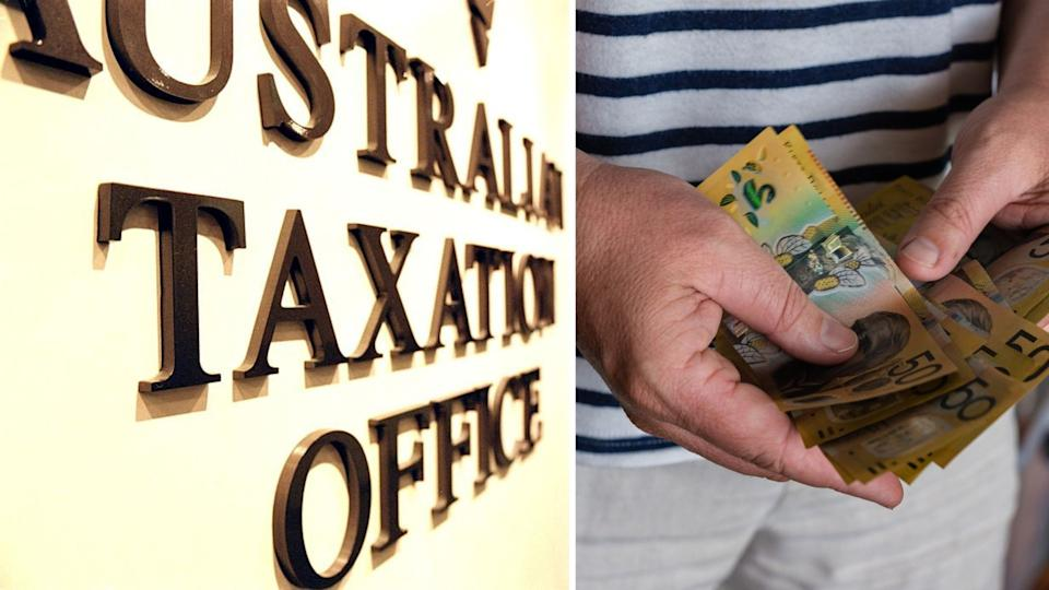 Australian Tax Office signage on wall, close up of man's hand with Australian cash in them.