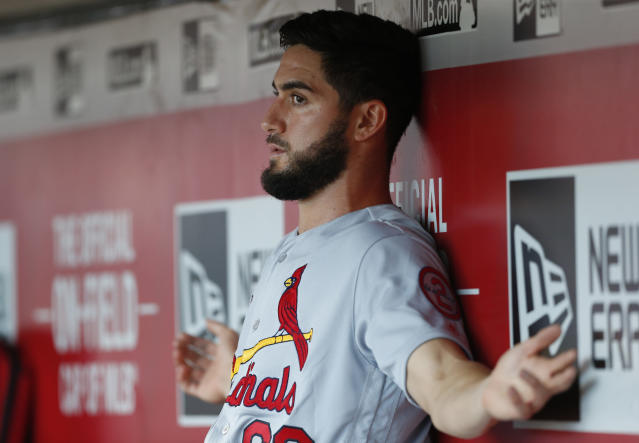 The Cardinals sent Daniel Poncedeleon back to the minors a day after his excellent debut. (AP Photo/Gary Landers)