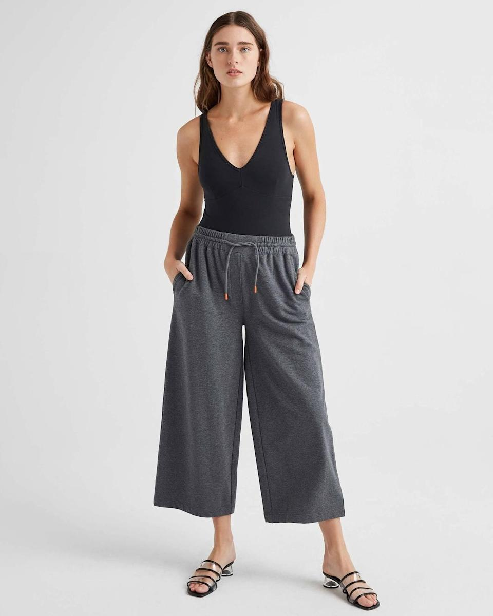 "<p>For the days you just want to be relaxed, opt for the <a href=""https://www.popsugar.com/buy/Richer-Poorer-Terry-Wide-Leg-Pants-574394?p_name=Richer%20Poorer%20Terry%20Wide%20Leg%20Pants&retailer=richer-poorer.com&pid=574394&price=78&evar1=fab%3Aus&evar9=47484599&evar98=https%3A%2F%2Fwww.popsugar.com%2Ffashion%2Fphoto-gallery%2F47484599%2Fimage%2F47484670%2FRicher-Poorer-Terry-Wide-Leg-Pants&list1=shopping%2Cpants%2Ctrousers%2Cfashion%20shopping%2Ccomfortable%20clothes&prop13=mobile&pdata=1"" class=""link rapid-noclick-resp"" rel=""nofollow noopener"" target=""_blank"" data-ylk=""slk:Richer Poorer Terry Wide Leg Pants"">Richer Poorer Terry Wide Leg Pants</a> ($78).</p>"