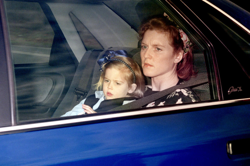 The Duchess of York returns home from Upton House school with her daughter Beatrice. Buckingham palace announced that llawyers acting for the Duchess of York initiated discussions about a formal separation for the Duke and Duchess.