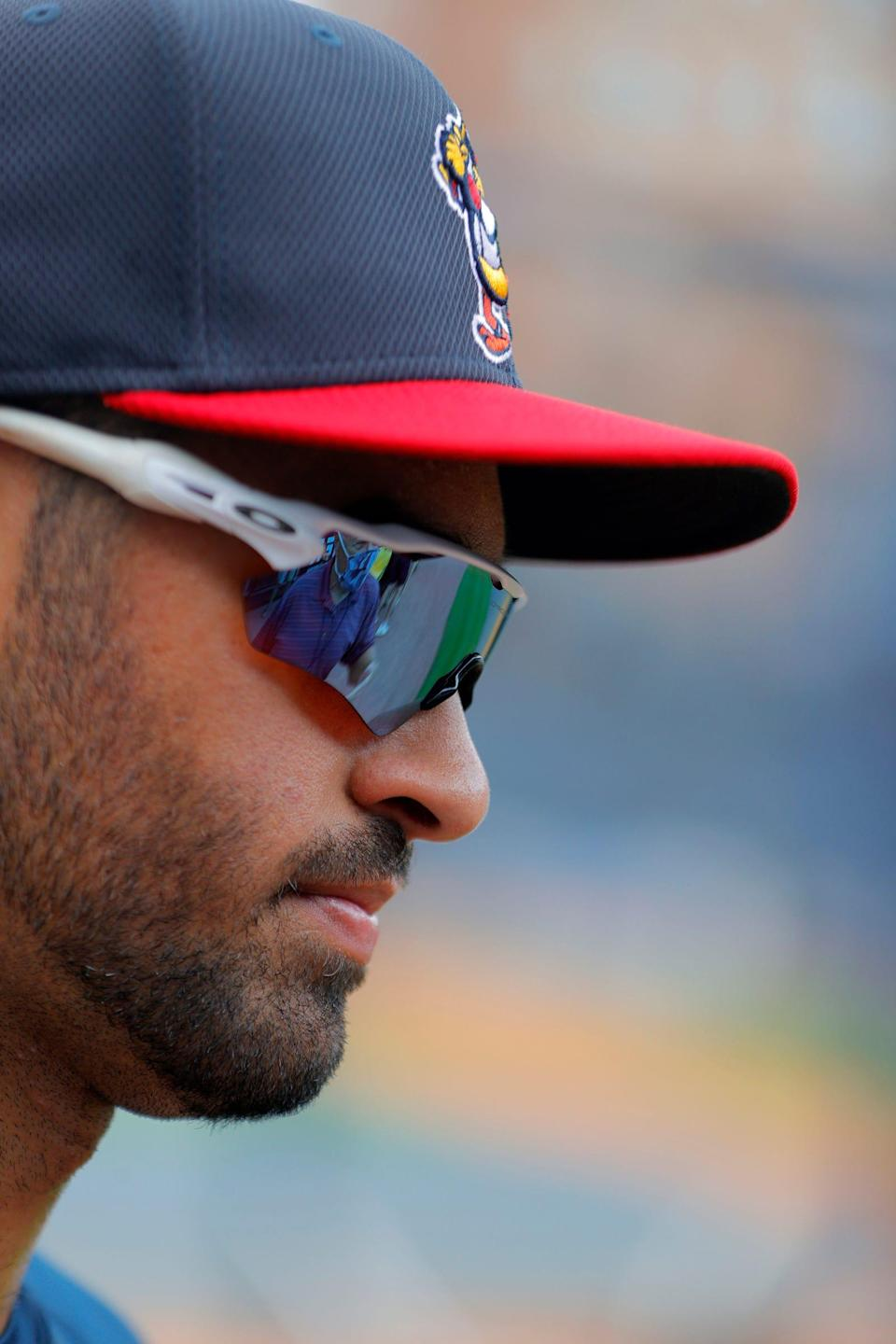 Toledo Mud Hens centerfielder Riley Greene listens to reporters questions after batting practice and before his teams game against the St. Paul Saints at Fifth Third Stadium in Toledo, Ohio on August 24, 2021.