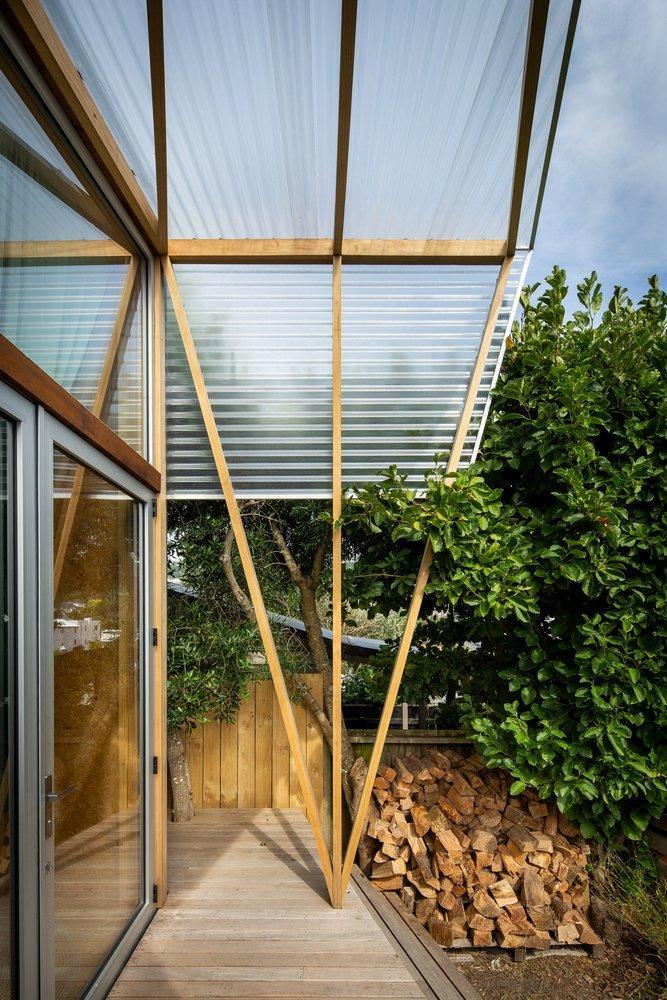 Profile view of the garden studio's sheltered front porch.