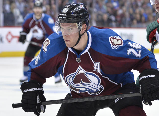 Colorado Avalanche center Paul Stastny look son against the Minnesota Wild during Game 2 of an NHL hockey first-round playoff series on Saturday, April 19, 2014, in Denver. The Avalanche beat the Wild 4-2. (AP Photo/Jack Dempsey)