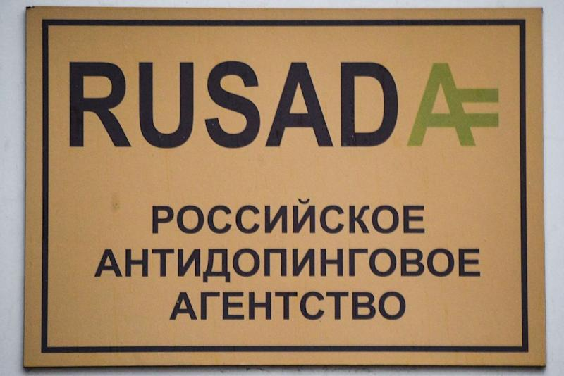 A sign with the logo of the Russian antidoping agency RUSADA is seen on a building housing its offices in Moscow on December 9 2019 The World AntiDoping Agency on December 9 2019 banned Russia from global sporting events including the 2020 Tokyo Olympics and the 2022 Beijing Winter Olympics after accusing Moscow of falsifying data from an antidoping laboratory Photo by Alexander NEMENOV AFP Photo by ALEXANDER NEMENOVAFP via Getty Images