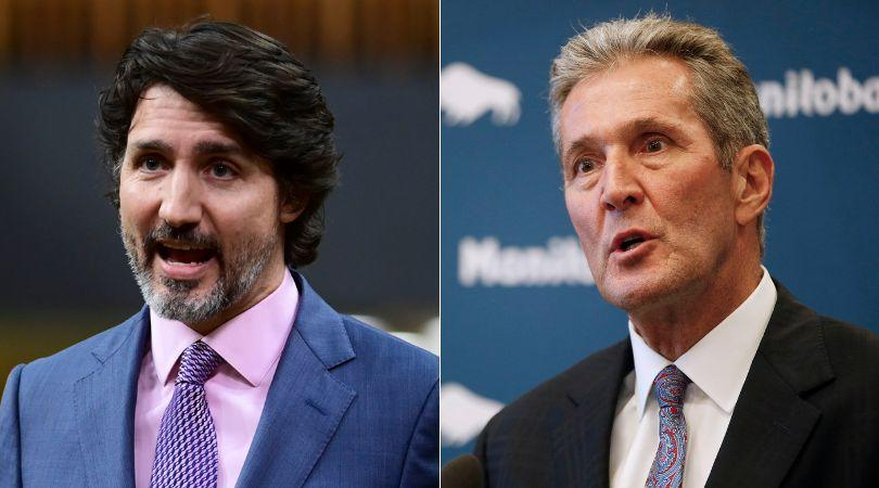 Prime Minister Justin Trudeau dismissed the story of a cancer patient who waited to see a doctor and a specialist, Manitoba Premier Brian Pallister claimed Thursday. (Photo: HuffPost Canada Composite/Canadian Press Images)
