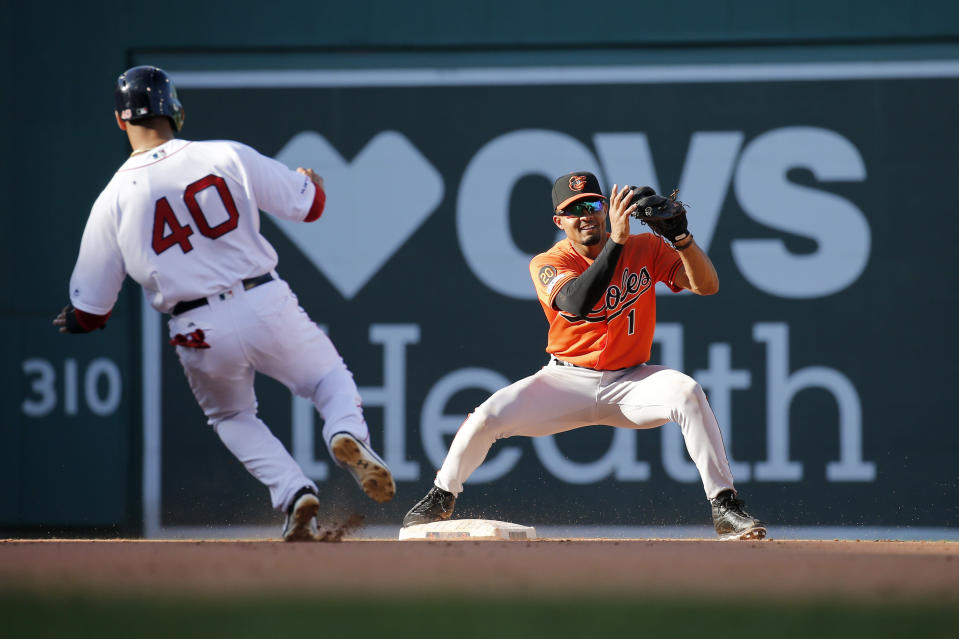 Baltimore Orioles shortstop Richie Martin (1) gets the force at second on Boston Red Sox's Marco Hernandez (40) on a hit by Sandy Leon during the eighth inning of a baseball game, Saturday, Sept. 28, 2019, in Boston. (AP Photo/Mary Schwalm)