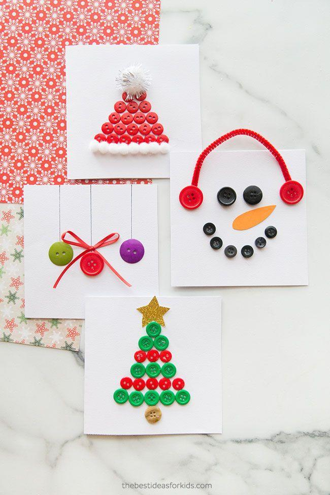 """<p>These impressive handmade cards show that something as humble as a button can serve as a worthy craft supply. </p><p><em>Get the tutorial at <a href=""""https://www.thebestideasforkids.com/christmas-button-cards/"""" rel=""""nofollow noopener"""" target=""""_blank"""" data-ylk=""""slk:The Best Ideas for Kids"""" class=""""link rapid-noclick-resp"""">The Best Ideas for Kids</a>.</em> </p><p><a class=""""link rapid-noclick-resp"""" href=""""https://www.amazon.com/Assorted-Childrens-Painting-Handmade-Ornament/dp/B076FLR6X1?tag=syn-yahoo-20&ascsubtag=%5Bartid%7C10072.g.34351112%5Bsrc%7Cyahoo-us"""" rel=""""nofollow noopener"""" target=""""_blank"""" data-ylk=""""slk:SHOP BUTTONS"""">SHOP BUTTONS</a></p>"""