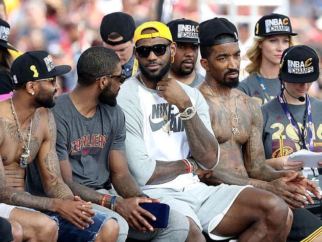 LeBron James, seconds after declining J.R. Smith's team option. (Getty Images)