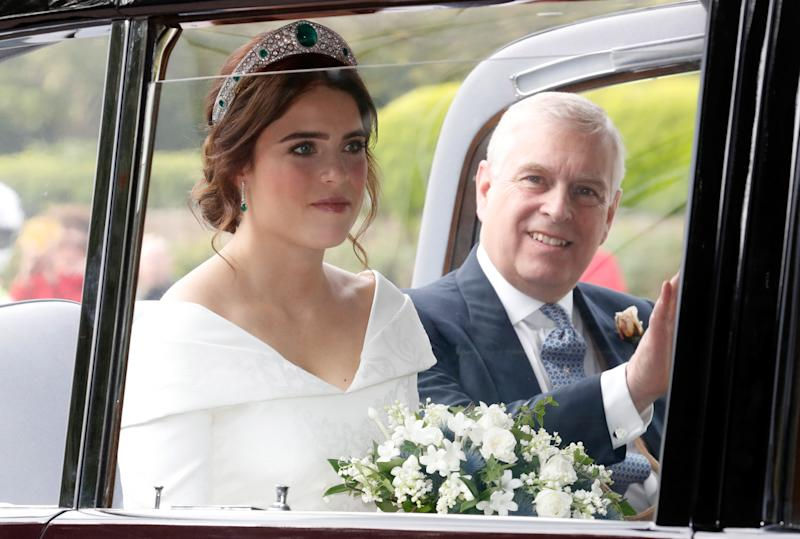 The bride, Princess Eugenie of York, with her father Prince Andrew, Duke of York.