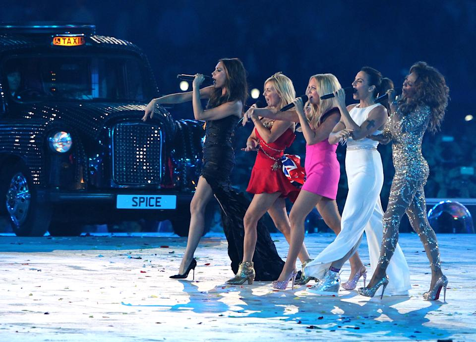 The Spice Girls perform during  the Closing Ceremony of the London 2012 London Olympics at the Olympic Stadium.