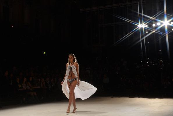 A model showcases designs by Suboo during the Miami Swim show as part of the Mercedes-Benz Fashion Festival Sydney 2012 at Sydney Town Hall on August 22, 2012 in Sydney, Australia. (Photo by Stefan Gosatti/Getty Images)