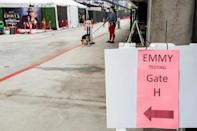 Covid-19 protocols were strict for the Emmys, with testing and a limited audience (AFP/VALERIE MACON)