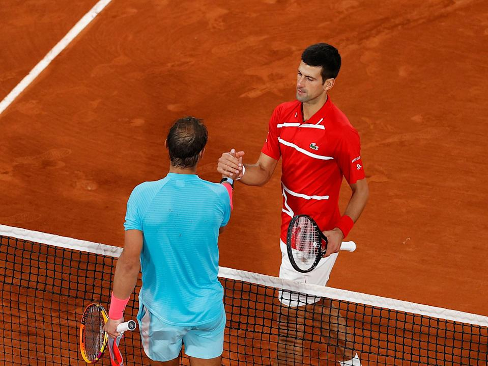 Rafael Nadal and Novak Djokovic (right) after last year's final (Getty Images)