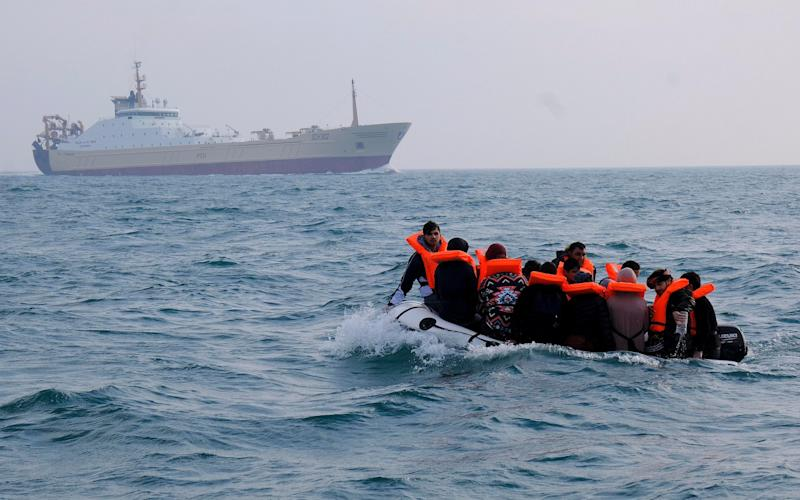 Sixteen migrants on board a dinghy seen heading for the UK on Wednesday - Steve Finn