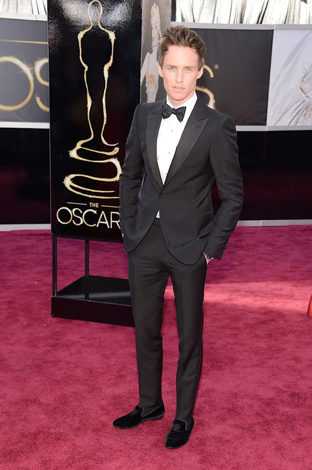 Eddie Redmayne arrives at the Oscars in Hollywood, California, on February 24, 2013.