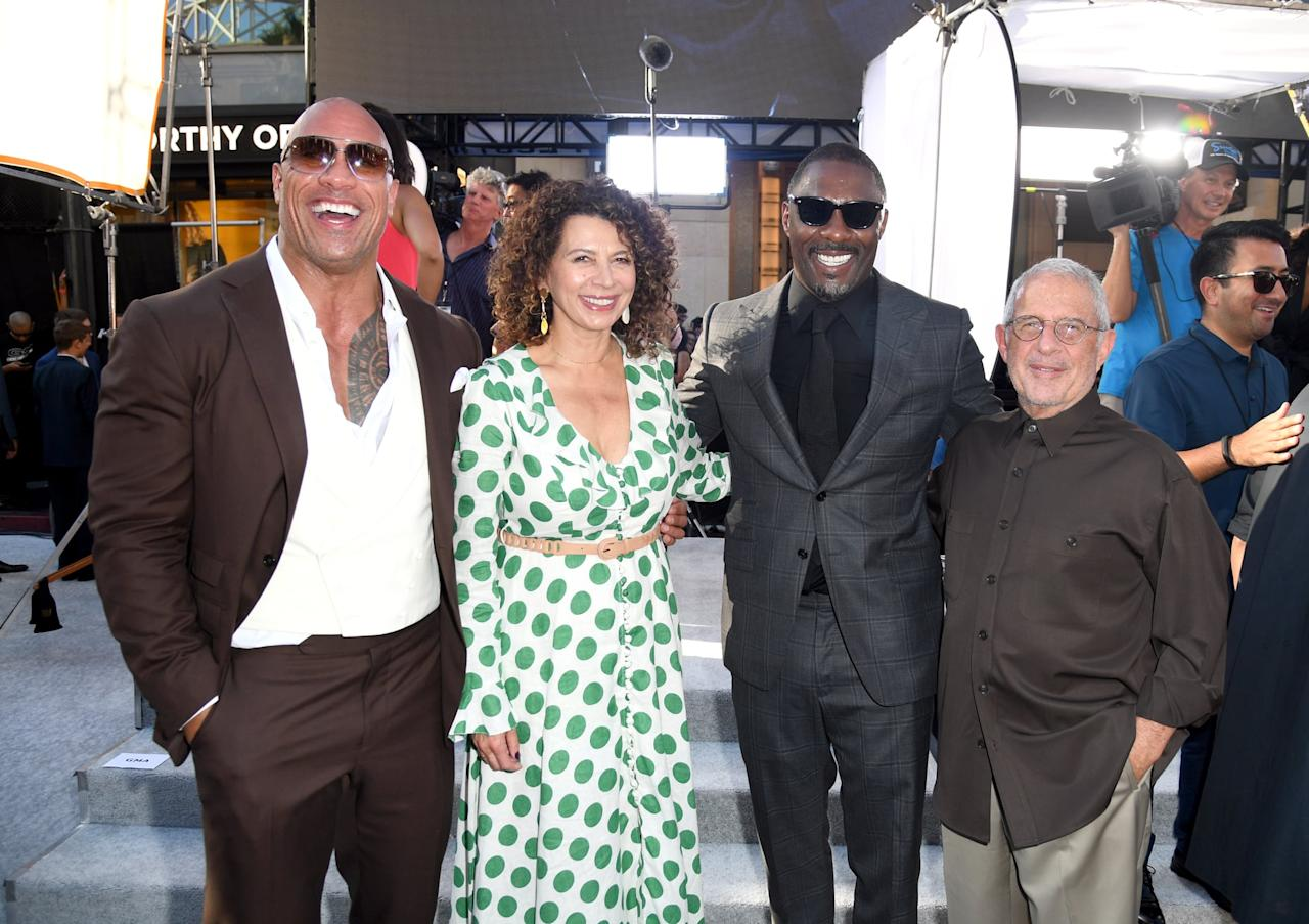 <p>Dwayne Johnson and Idris Elba posed with Universal Pictures Chairman Donna Langley and NBC Universal's Vice Chairman Ron Meyer at the LA premiere of <strong>Hobbs and Shaw</strong> in July 2019.</p>