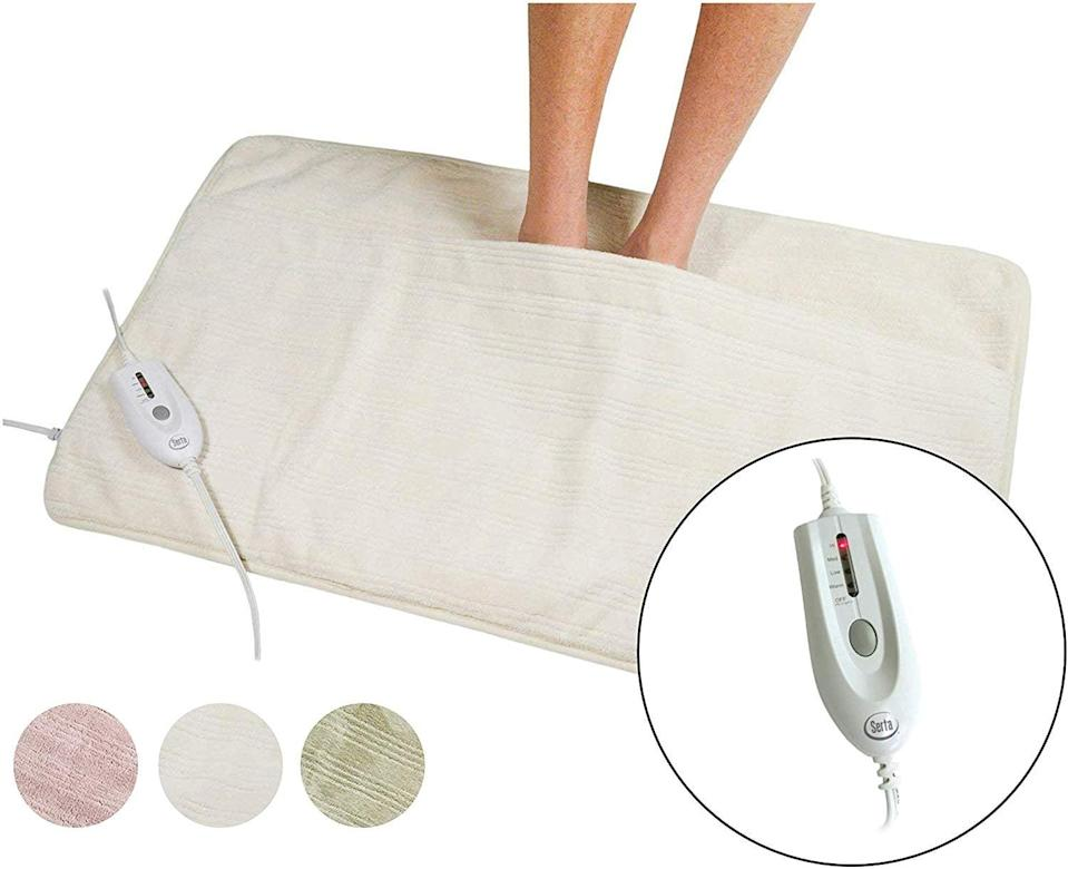 <p>Who wouldn't want this <span>Serta Ultra Soft Electric Heated Warming Pad</span> ($60)?</p>
