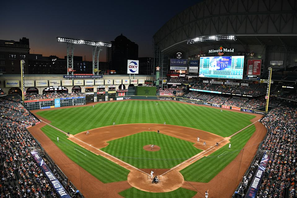 MLB is reportedly investigating whether the Houston Astros used a modified sign-stealing scheme during the 2017 postseason. (Photo by Loren Elliott/MLB via Getty Images)