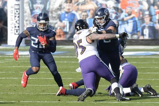 Tennessee Titans running back Derrick Henry (22) carries the ball past Baltimore Ravens defensive end Derek Wolfe (95) in the first half of an NFL wild-card playoff football game Sunday, Jan. 10, 2021, in Nashville, Tenn. (AP Photo/Mark Zaleski)