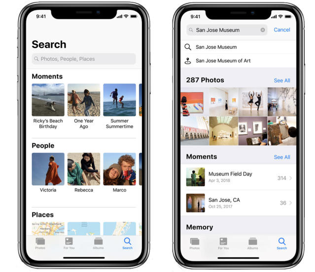 In photos, you can search for photos by people, places, things, or times.
