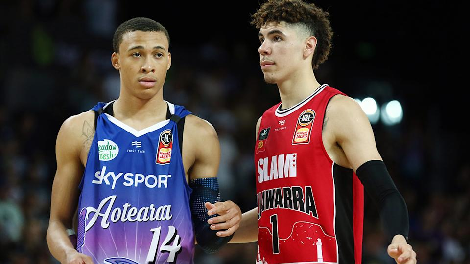 RJ Hampton and LaMelo Ball, pictured here in action in the NBL.