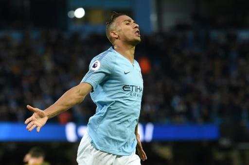 Manchester City's Danilo celebrates after scoring against Brighton on May 9, 2018