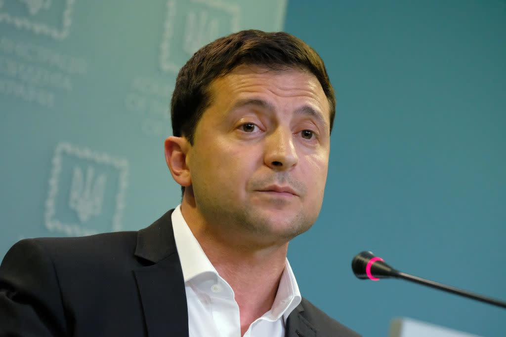 Ukrainian President Volodymyr Zelensky speaks to the media on Oct. 1, 2019 in Kiev, Ukraine. | Sean Gallup—Getty Images