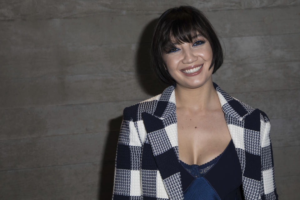 Model Daisy Lowe poses for photographers after the Roland Mouret Autumn/Winter 2019 fashion week runway show in London, Sunday, Feb. 17, 2019. (Photo by Vianney Le Caer/Invision/AP)