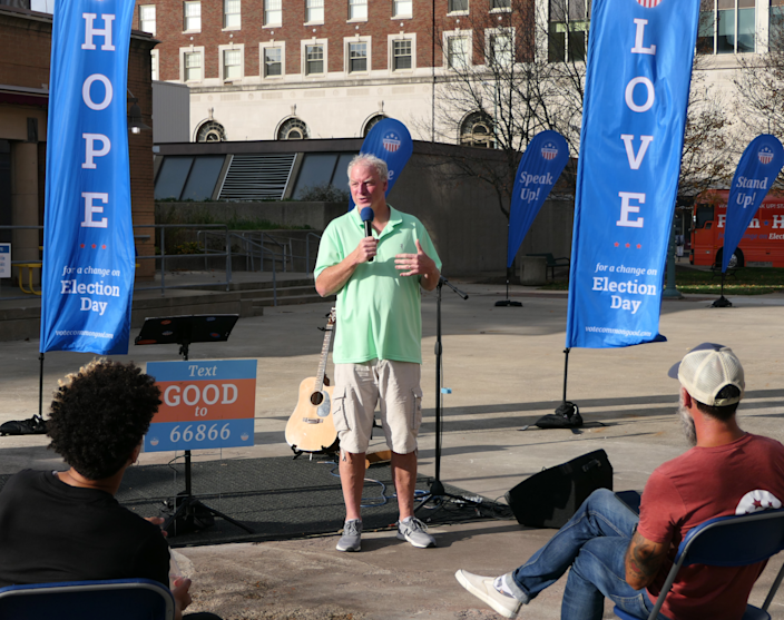 The Rev. Keith Mannes speaks at a rally on Oct. 23 in Canton, Ohio, for Vote Common Good.