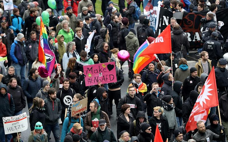 Up to 50,000 people were expected to participate in the protests against the AfD - Credit: Getty