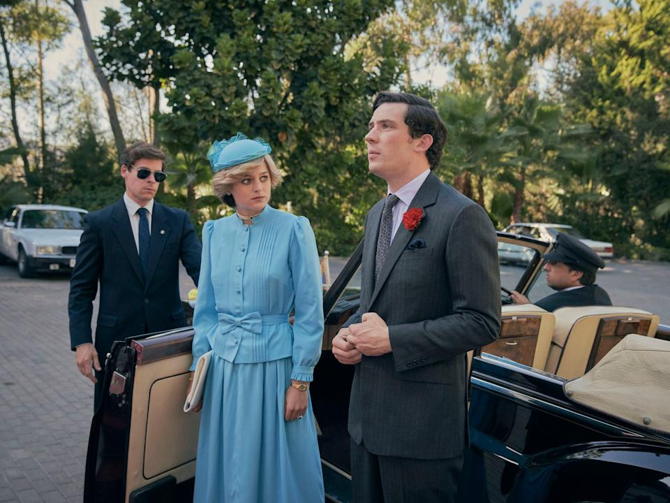 <p>Josh O'Connor pictured alongside Emily Corrine as Prince Charles and Lady Diana</p>Des Willie/Netflix