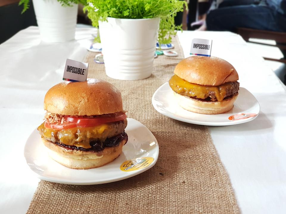 "Burgers made with vegan ""meat"" by Impossible Foods. (Photo: Flora Yeo for Yahoo Lifestyle Singapore)"