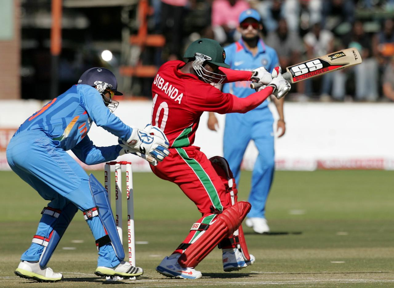 Zimbabwe batsman Vusimuzi Sibanda in action during the second one-day international ODI series between hosts Zimbabwe and India at Harare Sports Club on July 26, 2013. AFP PHOTO / Jekesai Njikizana.        (Photo credit should read JEKESAI NJIKIZANA/AFP/Getty Images)